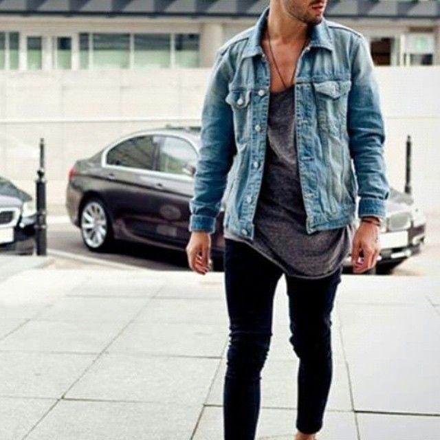 Black skinny and jean shirt - fashion men