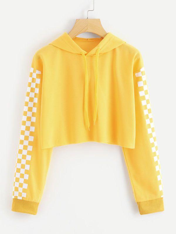 1490d84440ca6 Boho Contrast Checkered Sleeve Crop Hoodie in 2019