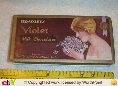 An early antique Hoadley's Violet Milk Chocolate Box. Abel Hoadley named the chocolate for his wife Susannah's favourite flower Violet - this box could be pre-Violet Crumble.