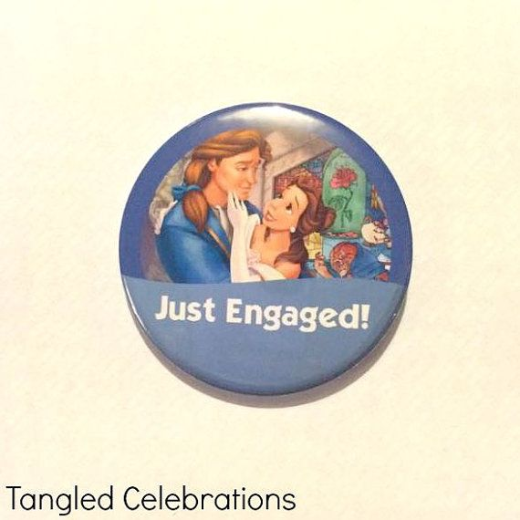 Beauty & The Beast/Belle + Prince Adam Just Engaged Disney Park Inspired Celebration Button/Pin/Badge