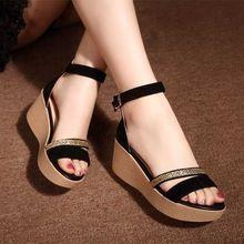 Verano 2016 de La Manera Caliente de Nueva Negro Mujeres Sandalias Zapatos Femeninos para Las Mujeres de Cuero Nobuck Zapatos Bagatela(China (Mainland))