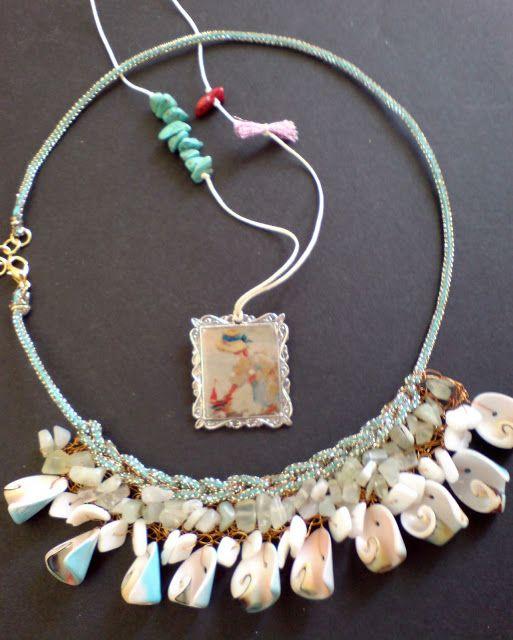 Wire crochet with semi precious stones & seashells