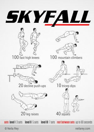 Skyfall Workout, from neila rey. Really neat website with themed workouts (based on TV shows/movies), programs (30 or 90 days), challenges, and other helpful workout tips. Good excuse to watch part of the show/movie while you're doing the workout!