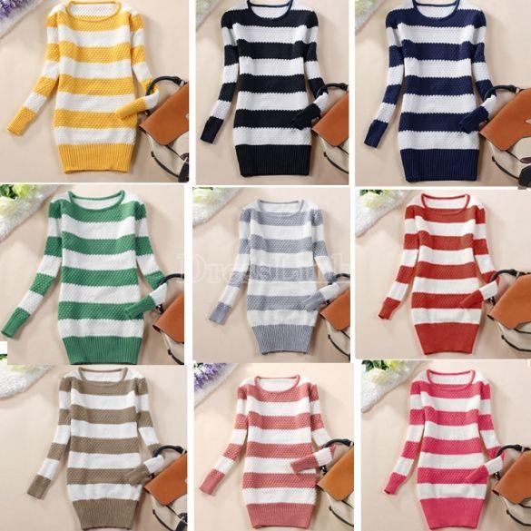 Women O-Neck Long Sleeve Stripe Sweaters Pullovers