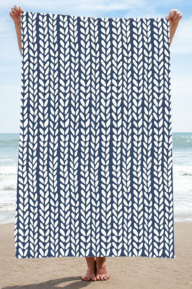 Knit Wave Navy Beach Towel 35 Navy Blue Beachtowel Towel