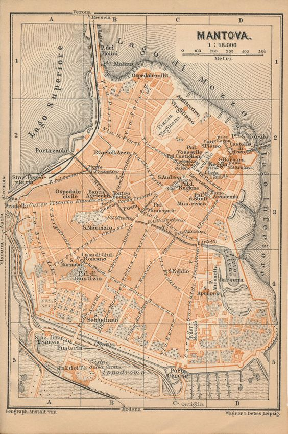 Original 1909 map of Mantua (Mantova), Italy. This map was sourced from a 1909 travel guidebook, and measures approximately 6.25 x 4 inches. It features