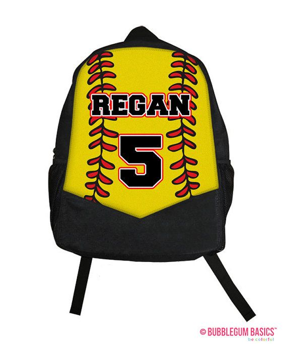 Yellow Red Sports SOFTBALL Fastpitch Monogram Custom Personalized  Childrens Kids Girls Backpack tote School Camp by BubblegumJR (https://www.etsy.com/listing/195555391/custom-personalized-softball-fastpitch?ref=shop_home_active_23)