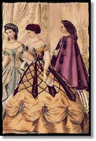 Makes me think of an overlay over the skirt...  hmmmmm.... Custom Civil War Ball Gown 1866 Godey Peterson  fashion plate