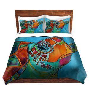 Decorative Duvet Covers and Shams Bedding | Patti Schermerhorn - Seaglass Sea Turtle
