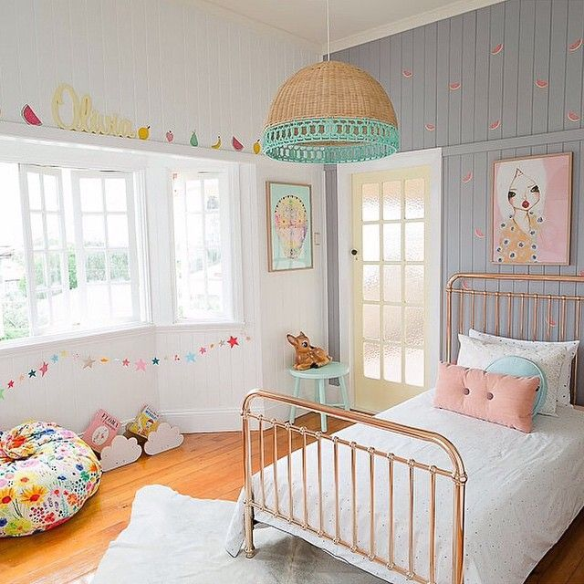 electic young girls room with retro colors // Petite Vintage Interiors (go with little birds instead of the fruit!)