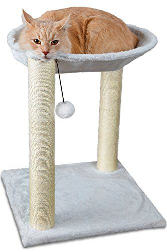OxGord Paws & Pals Cat Tree House, 16 x 16 x 20-Inches, Multi 2 Level, White with Scratching Post Tower, Hammock Bed And Pet Toy Ball.