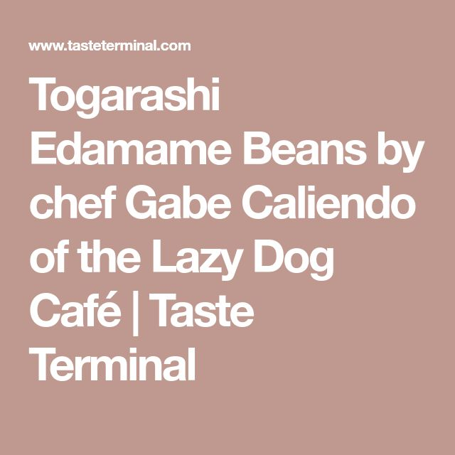 Togarashi Edamame Beans by chef Gabe Caliendo of the Lazy Dog Café | Taste Terminal