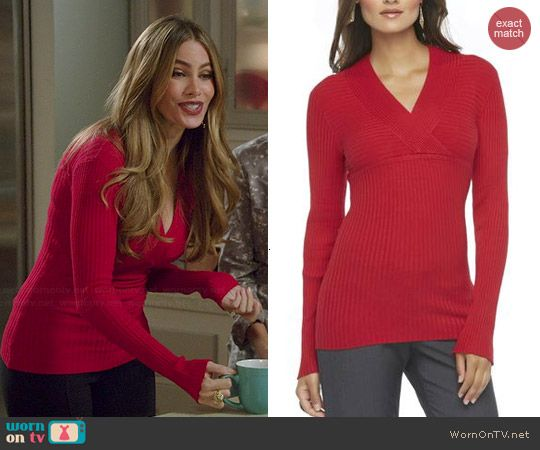 Gloria's red ribbed v-neck sweater on Modern Family.  Outfit Details: http://wornontv.net/45619/ #ModernFamily