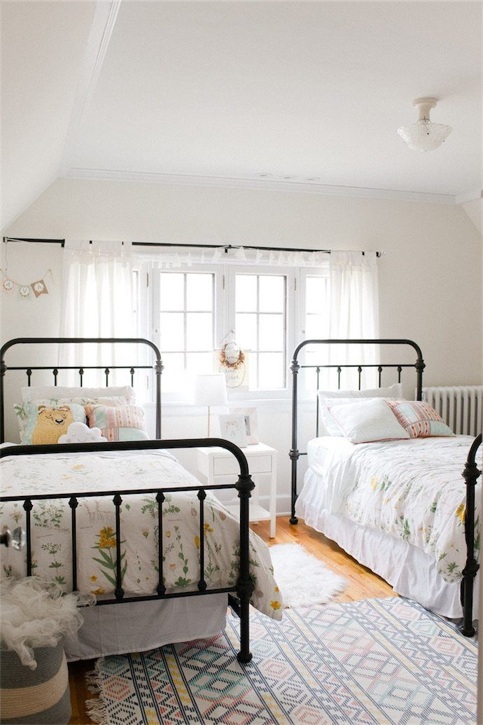 Kids Bedroom With Two Beds And Wrought Iron Bed Frames Glitterroom Shared Girls Bedroom Farm House Living Room Iron Bed Frame