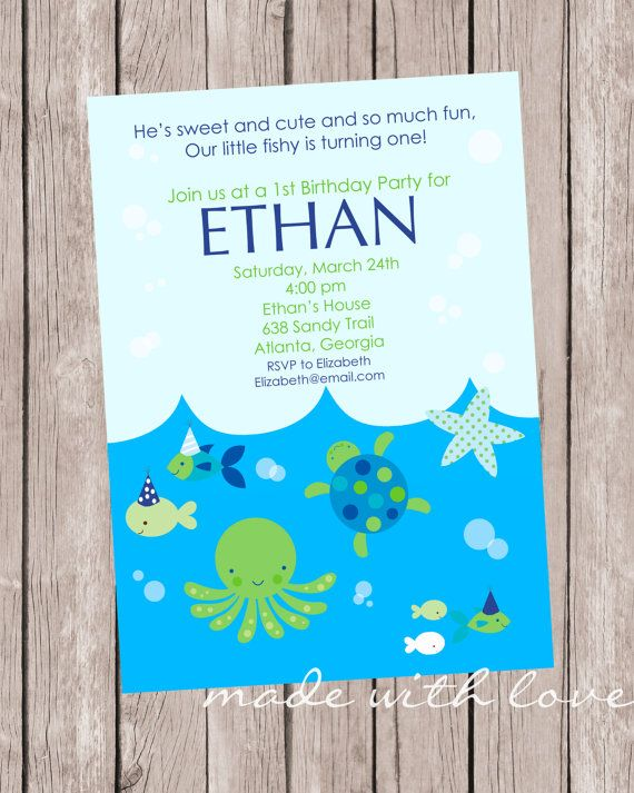 LIttle Fish (BOY), Birthday Party Invitation, 5x7,  personalized and printable