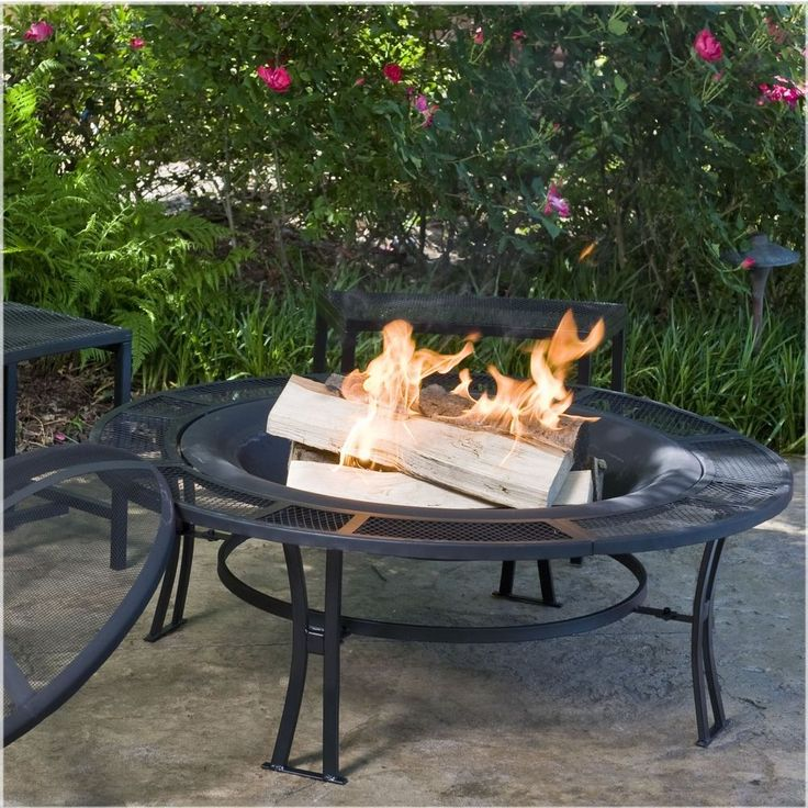 Patio Sets with Fire Pit Table Black Metal Mesh with Cover Bench Furniture #CobraCo