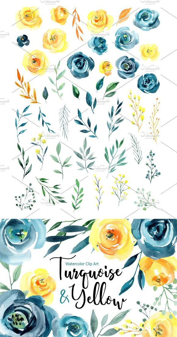Blue Yellow Watercolor Roses Flowers Floral Watercolor Watercolor