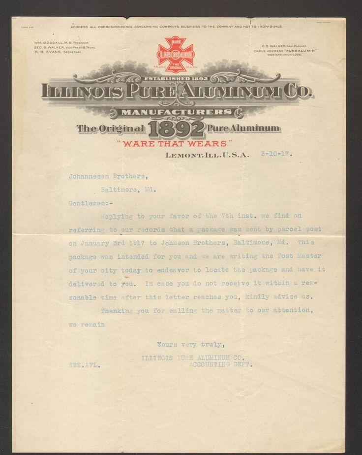 1917 Advertising Letterhead Illinois Pure Aluminum Company Original 1892 Ware