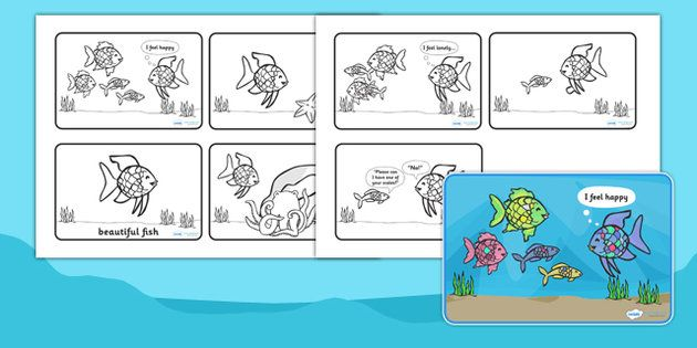 The Rainbow Fish Story Sequencing (4-per-A4) - The Rainbow Fish, Marcus Pfister, resources, Rainbow Fish, PSHE, PSE, octopus, shimmering scales, starfish, friendship, under the sea, sea, story, story book, story book resources, story sequencing, stor