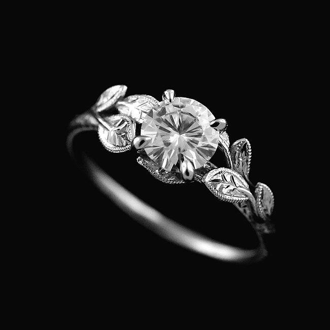 14k white gold nature inspired forever brilliant moissanite leaves accent engagement ring by orospot on etsy