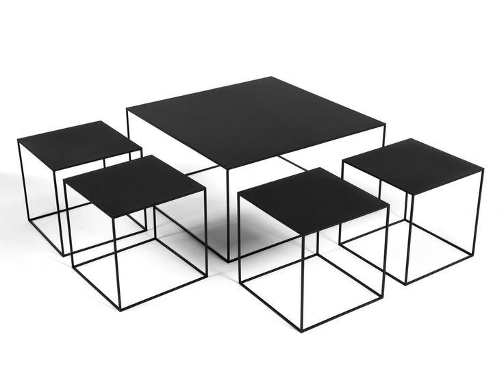 Table basse metal carree romy - Table basse carree bois metal ...