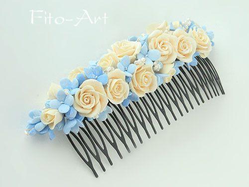 """Купить Свадебный гребень """"Ванильные небеса"""" - жемчуг, кремовые розы, голубые цветы, небесные цветы"""