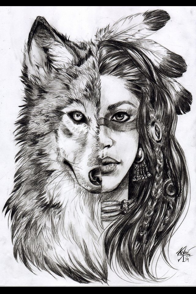 Half wolf half girl I have looked everywhere for this! This will be my next tattoo