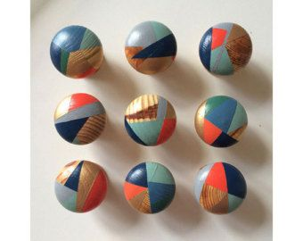 Hand painted colourful door knobs handles by PaintedWoodenThings