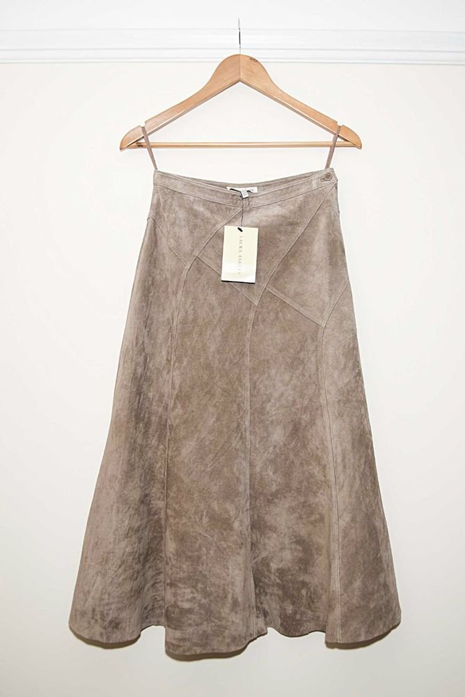 Brand New Laura Ashley Light Brown/ Camel Suede Long/ Maxi Skirt RRP £120 Size 8