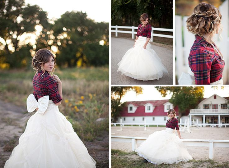 Plaid shirt tied over wedding dress that bow is for Bridesmaid dresses for november weddings