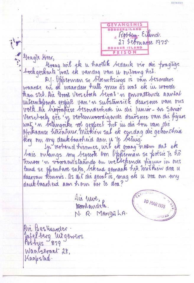 Nelson Mandela skryf 'n brief in Afrikaans van Robbeneiland af. / Nelson Mandela writes a letter in Afrikaans from Robben Island.