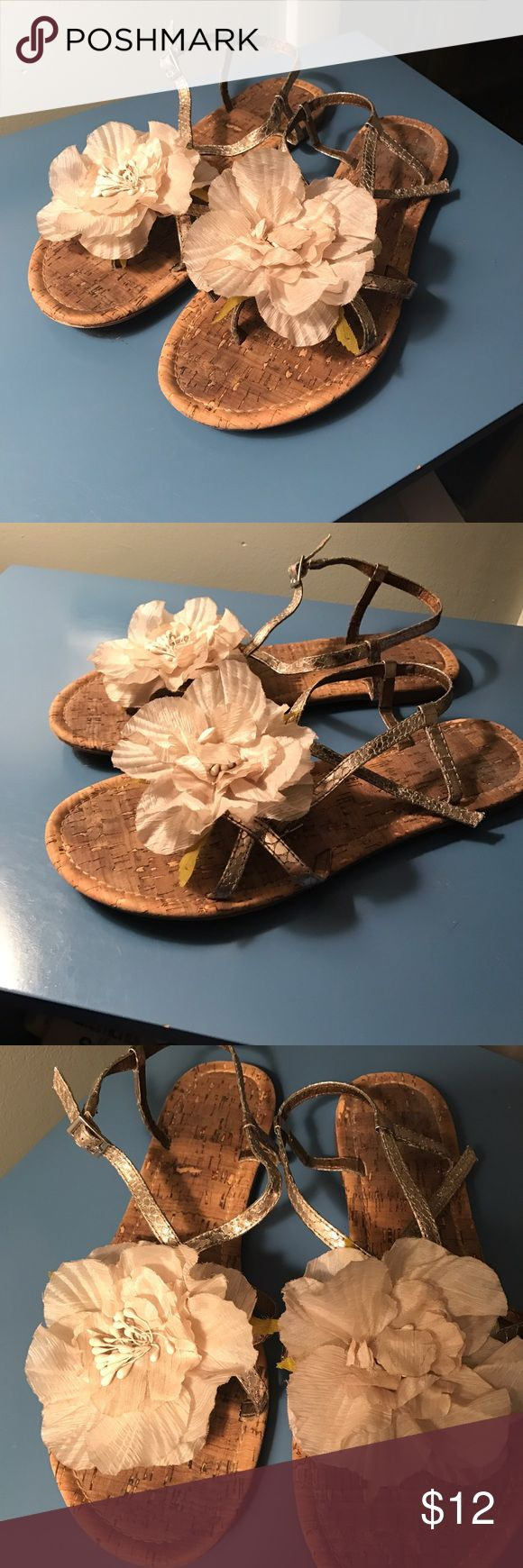 SUPER CUTE flowered cork sandals Cork sandals with flowers on each foot! Perfect for summer! Report Shoes Sandals