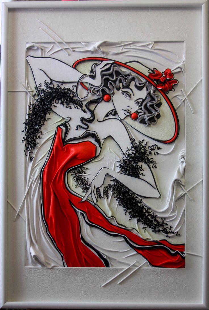 Дама в красном Картина из кожи