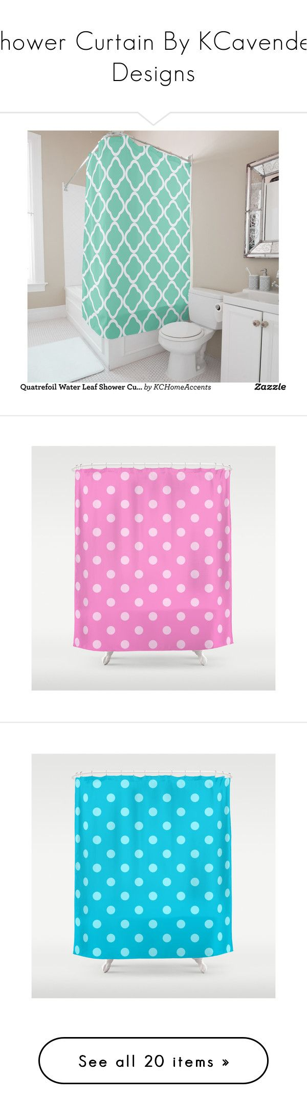 """Shower Curtain By KCavender Designs"" by kelly-cavender ❤ liked on Polyvore featuring home, bed & bath, bath, shower curtains, green shower curtains, polka dot shower curtains, pink shower curtains, aqua shower curtains, purple shower curtains and shower curtain"