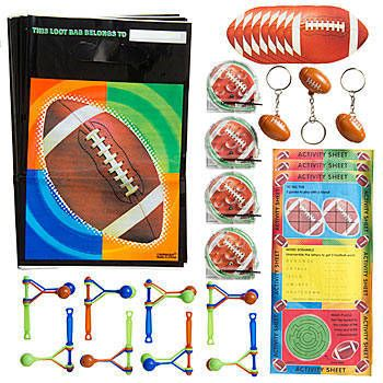 Our Football Favor Assortment features a variety of football inspired favors. The assorted football favors is sure to keep the whole team entertained.