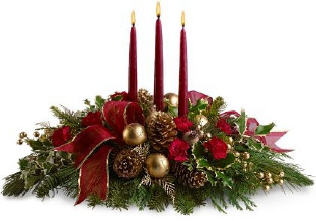 Decoração de Natal: arranjo floral com velas vermelhas | Eu Decoro
