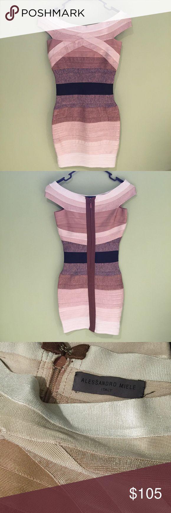 Alessandro Miele Bandage striped dress Alessandro Miele made in Italy 🇮🇹 bandage bodycon dress with zipper back Alessandro Miele Italy  Dresses Mini