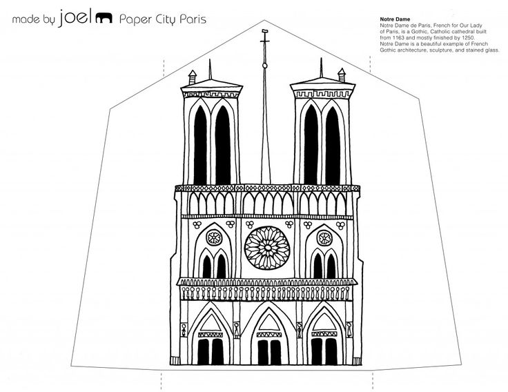 Notre Dame Template-Printble Paper Paris - Made by Joel Paper City