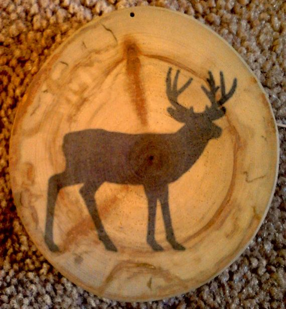 Rustic Pine Toung And Groove Interior Design: Deer Ornament / Coaster Great Hunter Gift Buck Antler