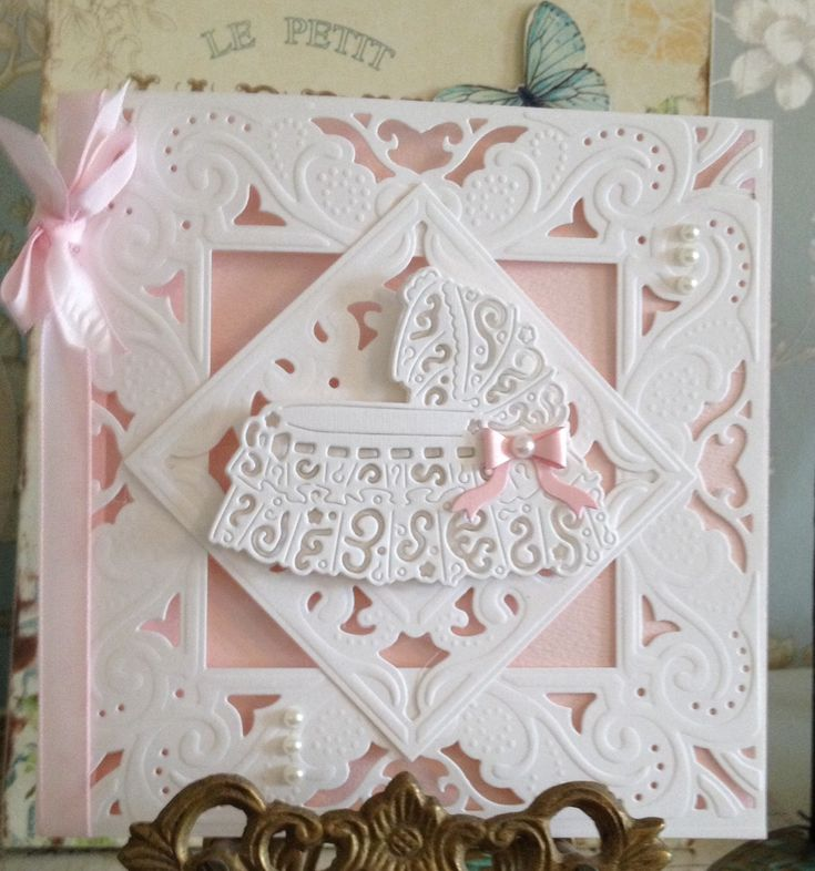 Create a card Diesire die. Crafters companion. Tattered lace crib die.