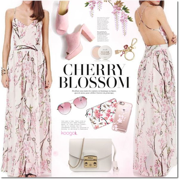 Cherry blossom by mada-malureanu on Polyvore featuring Furla, Casetify, Minnie Rose, Michael Kors, Fresh, koogal and koogallove