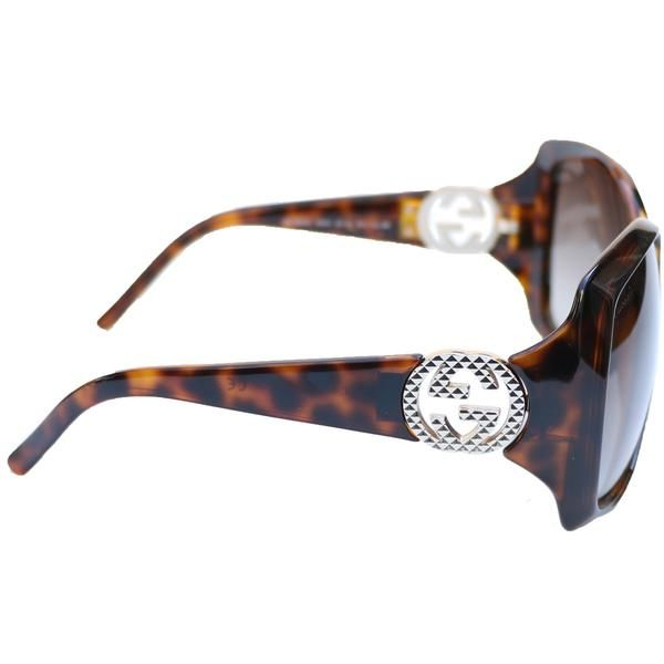 """Gucci dark tortoise shell gradient lens sunglasses with interlocking G logo at temples. No case. ORIGINAL RETAIL: $375 CONDITION: Good - very slight marks MEASUREMENTS: Frame height 2.5"""" Frame width 5.5"""" DESIGNER: Gucci"""