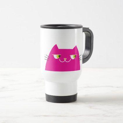 Cat Pink Hot Bright Funny Good Person Cartoon Cool Travel Mug - cat cats kitten kitty pet love pussy