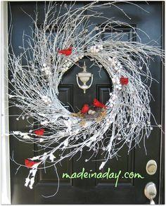 Snowy Red Cardinal Winter Wispy Kranz