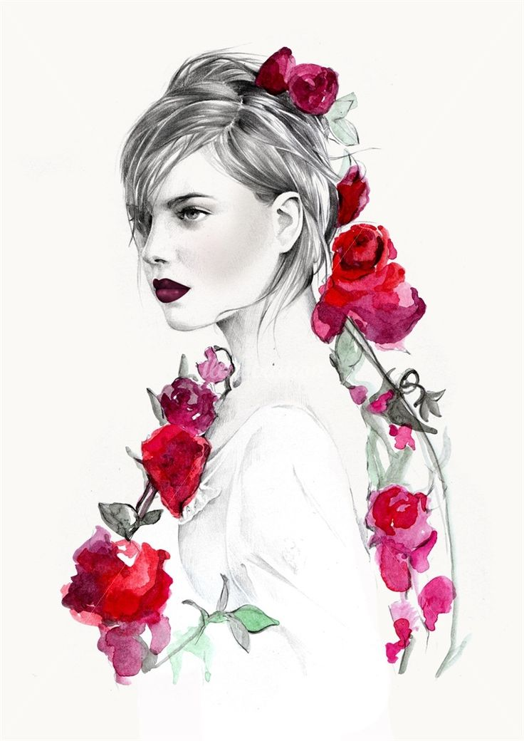 Kelly Smith is a fashion illustrator, specialising in portraiture and beauty. Roses..
