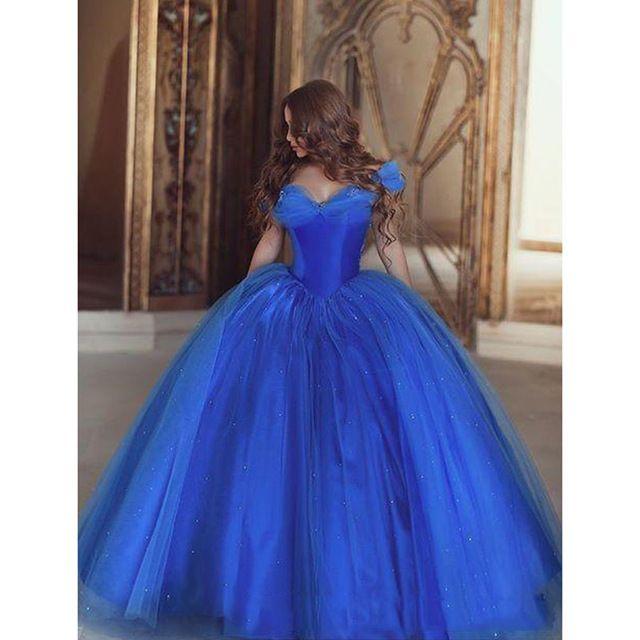 Kraliyet Mavi İnanılmaz Balo Elbise Süper Puf Tül Zarif Balo Sevgiliye Uzun Balo Abiye Özelleştirilmiş Gala Retro Resmi Elbise
