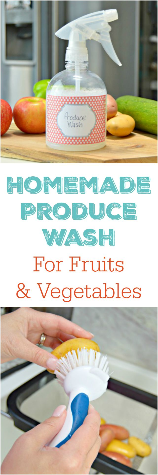 Homemade produce wash for fruits and vegetables with free printable cleaning labels too! Chemical free, all natural veggie wash…