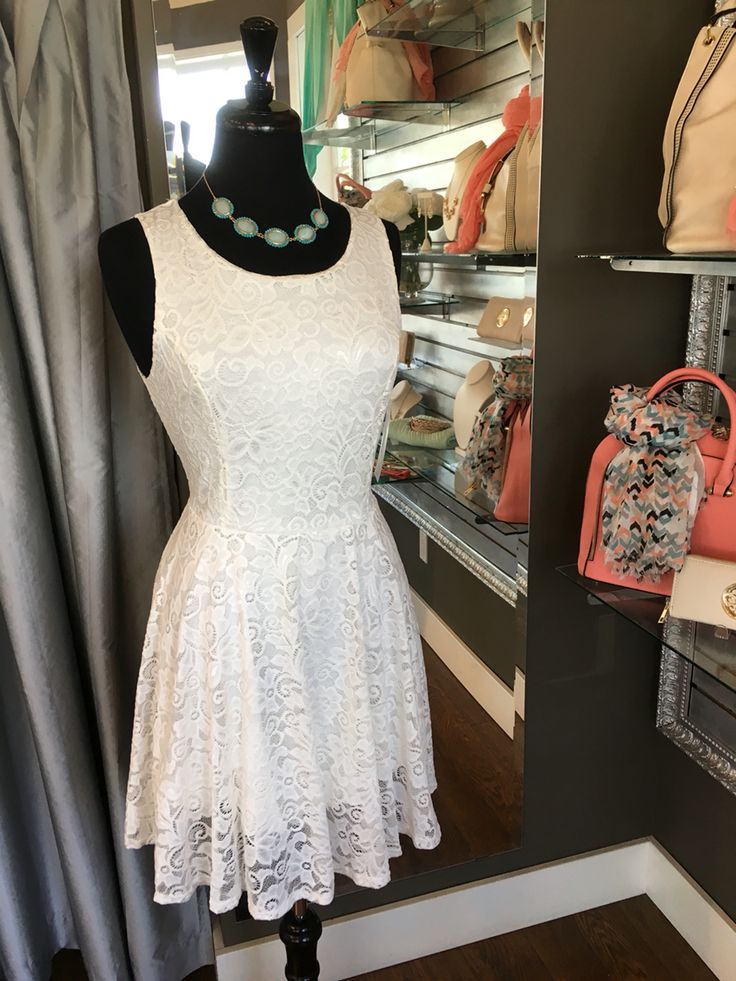 Perfect White Summer Skater Dress - Do you love skater dresses? We have this beautiful summer version of a standard skater dress featuring a beautiful lace overlay. This dress can either be formal or casual, depending on how you accessorize. (Perfect White Summer Skater Dress $72CAD) #summer #summerstyle #fashionista