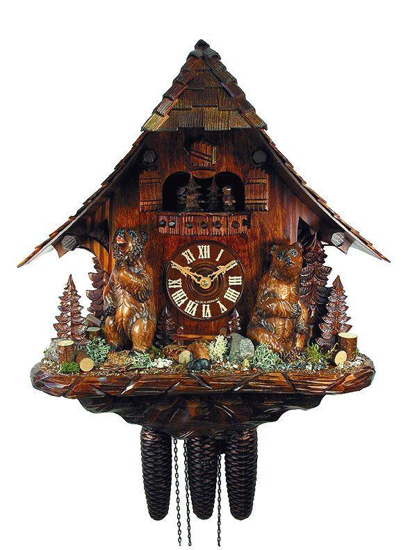 cuckoo clock from the black forest with certificate of black forest house with wood - Black Forest Cuckoo Clocks