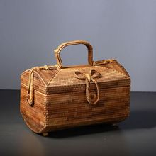 25x16CM rattan Hand-made Jewelry Box Small Suitcase Fine Bow Tie Women Storage Box A4173(China (Mainland))
